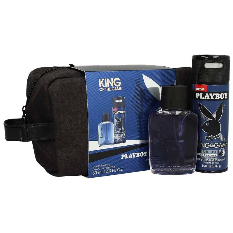 Playboy King Of The Game Edt 60 ml + Deodorant 150 ml + Kulturbeutel (Schwarz)