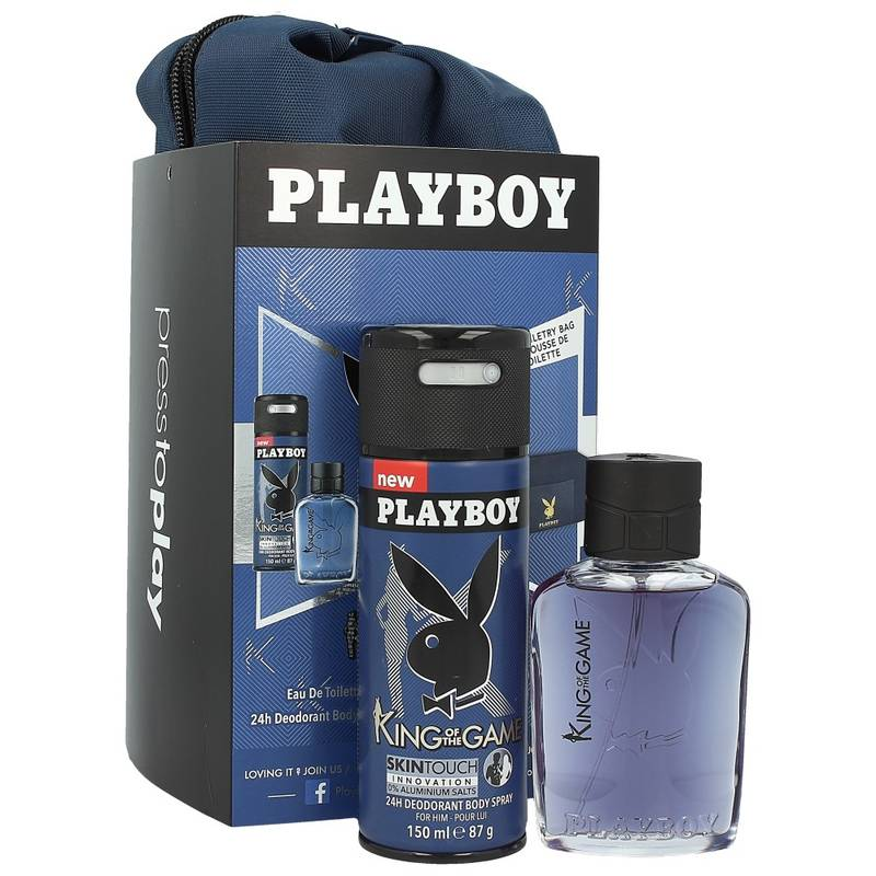 Playboy King Of The Game Edt 60 ml + Deodorant 150 ml + Kulturbeutel (Blau)