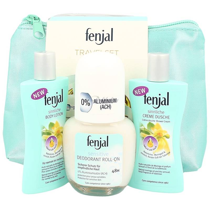 Fenjal Travel Set - Deo Roll-On Sensitive 50 ml + Creme Dusche Moringa 30 ml + Body Lotion Moringa 30 ml